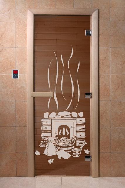 Стеклянная дверь для бань и саун «Банька» (бронза)