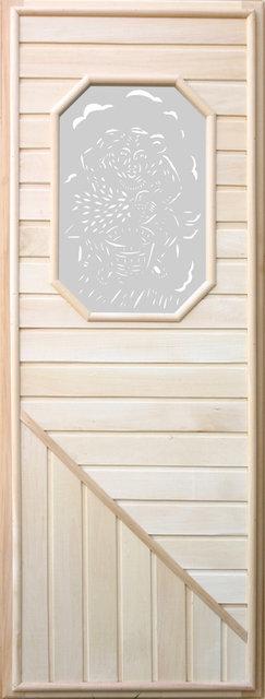 Дверь для бани со стеклом 8-ми угольным