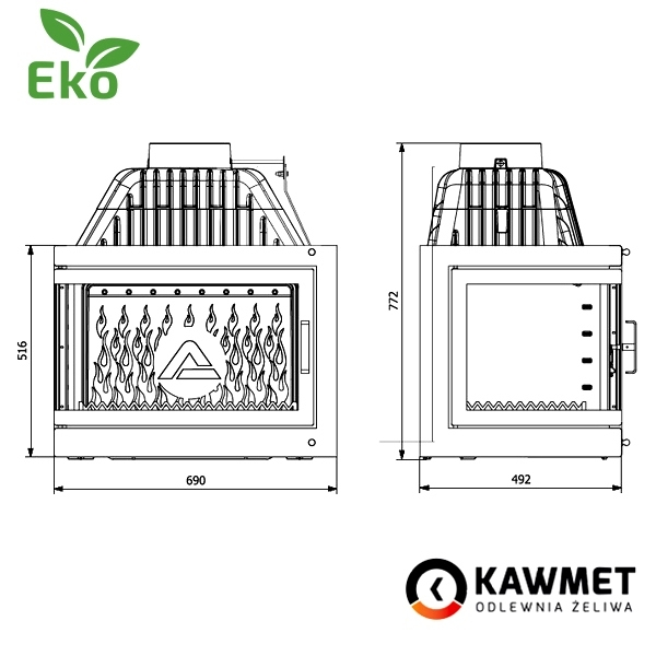 Каминная топка KAWMET W17 с правым (левым) боковым стеклом (16.1 kW) EKO