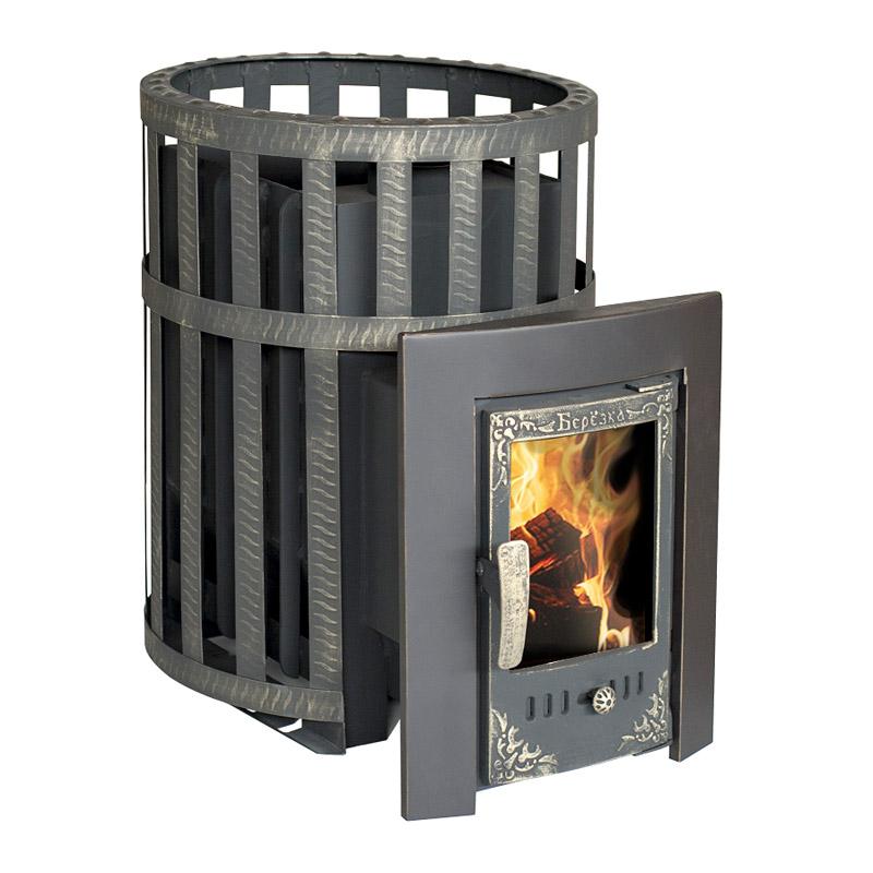 Печь-камин Березка ВИКИНГ 15 (сетчатый кожух, стекл.дверца)