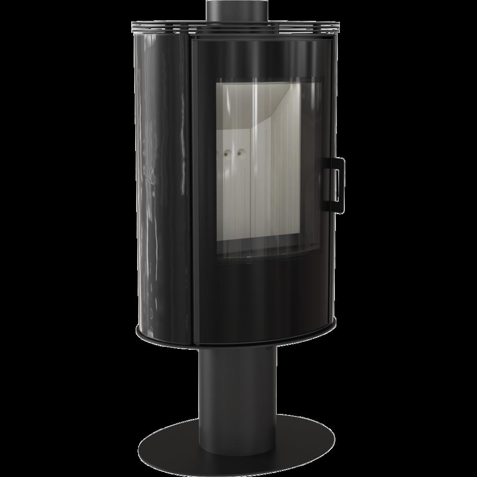 Печь-камин kratki koza absno glass kafel черный